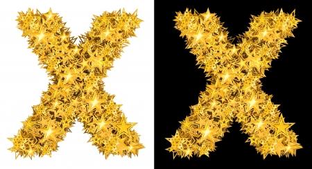 Gold shiny stars letter X, black and white background Stock Photo - 17994321