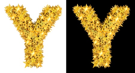 oscar: Gold shiny stars letter Y, black and white background