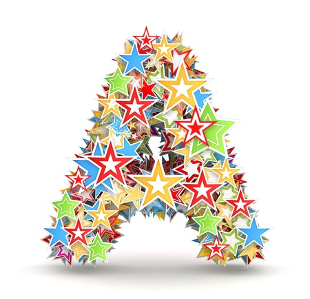 Letter A, maked from bright colored holiday stars photo