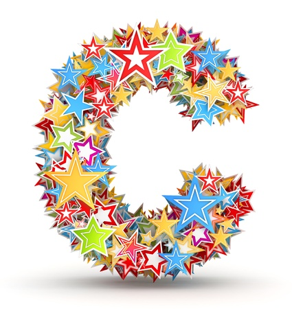 Letter C, from bright colored holiday stars staked photo