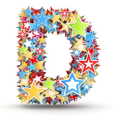 Letter D, maked from bright colored holiday stars photo