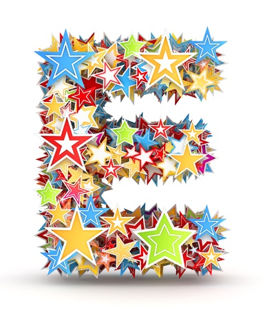 Letter E, maked from bright colored holiday stars photo