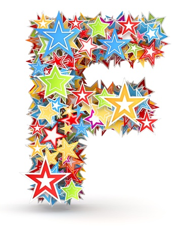 five star: Letter F, maked from bright colored holiday stars