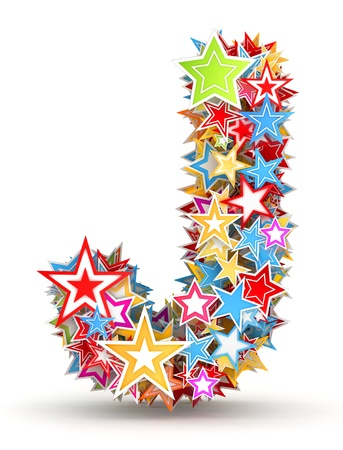 five stars: Letter J, from bright colored holiday stars staked