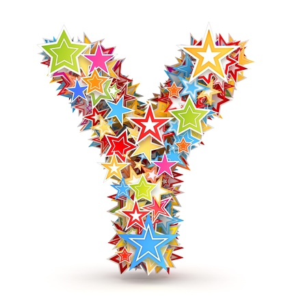 chads: Letter Y, from bright colored holiday stars staked