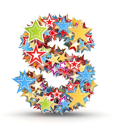 chads: Letter S, from bright colored holiday stars staked