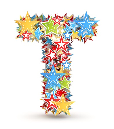 christmas cracker: Letter T, from bright colored holiday stars staked