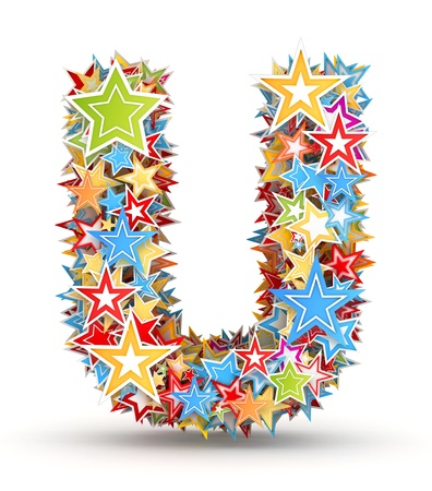 letter u: Letter U, from bright colored holiday stars staked