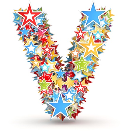 chads: Letter V, from bright colored holiday stars staked Stock Photo