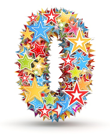 chads: Number 0, from bright colored holiday stars staked Stock Photo