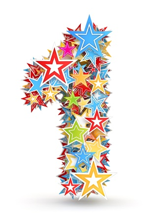 Number 1, from bright colored holiday stars staked Stock Photo