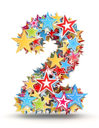 Number 2, from bright colored holiday stars staked