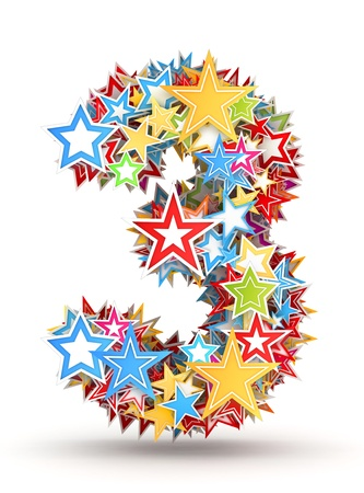 Number 3, from bright colored holiday stars staked Stock Photo