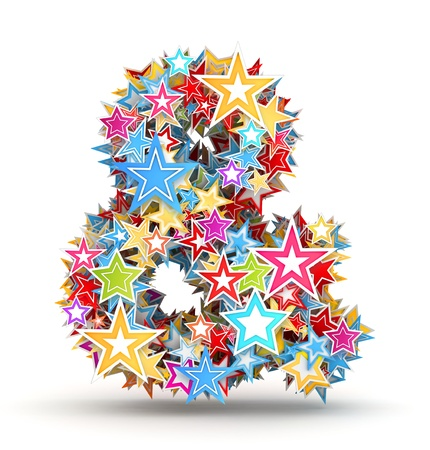 ampersand: Ampersand sign from bright colored holiday stars staked