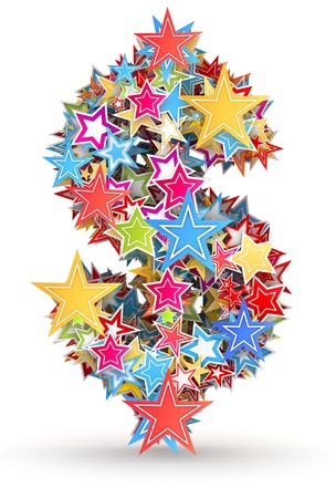 chads: Dollar sign , from bright colored holiday stars staked