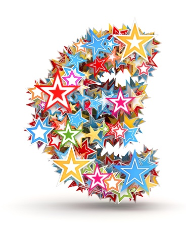 chads: Euro sign from bright colored holiday stars staked Stock Photo