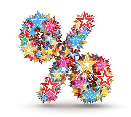 chads: Percent sign from bright colored holiday stars staked