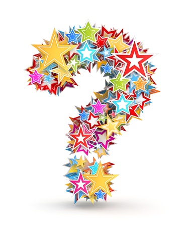 Question mark from bright colored holiday stars staked photo