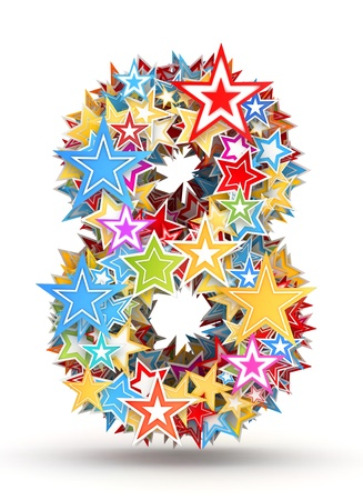 chads: Number 8, from bright colored holiday stars staked Stock Photo