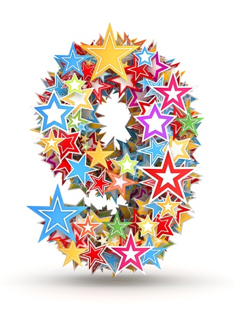 chads: Number 9, from bright colored holiday stars staked Stock Photo