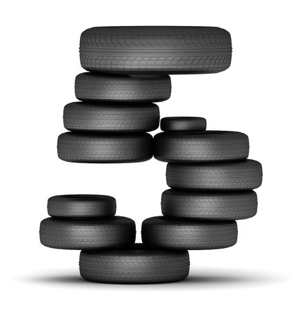 number 5: Number 5 staked from cars rubber tires, black on white Stock Photo