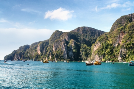 Tropical sea view,Thailand Phi-Phi shore line, island photo
