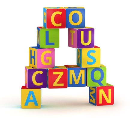 abc blocks: Letter A from ABC cubes for kid spell education
