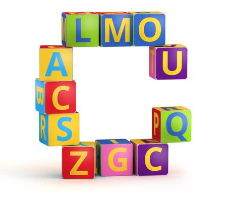 text boxes: Letter C from ABC cubes for kid spell education Stock Photo
