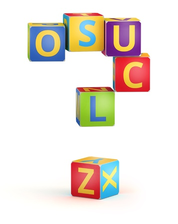 reckoning: Question mark  from ABC cubes for kid spell education Stock Photo