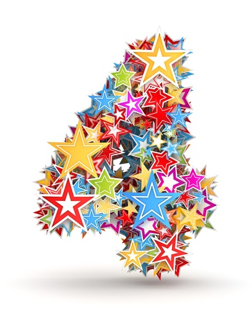 gaudy: Number 4, from bright colored holiday stars staked