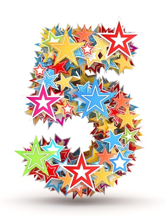 number 5: Number 5, from bright colored holiday stars staked