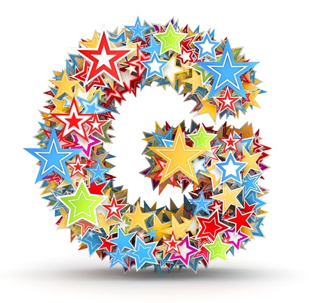 Letter G, maked from bright colored holiday stars photo