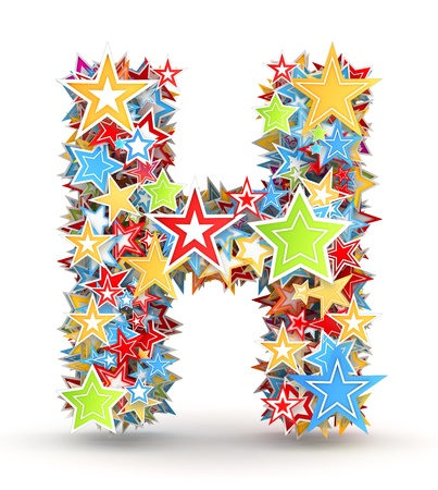 Letter H, maked from bright colored holiday stars photo