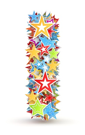 i kids: Letter i, maked from bright colored holiday stars Stock Photo