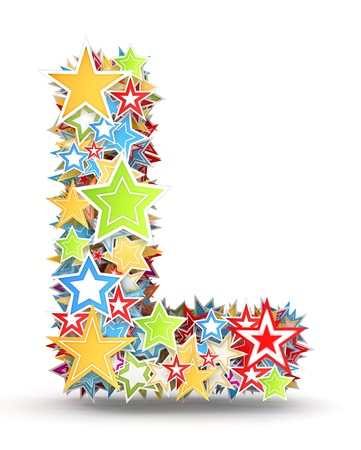 Letter L, maked from bright colored holiday stars photo