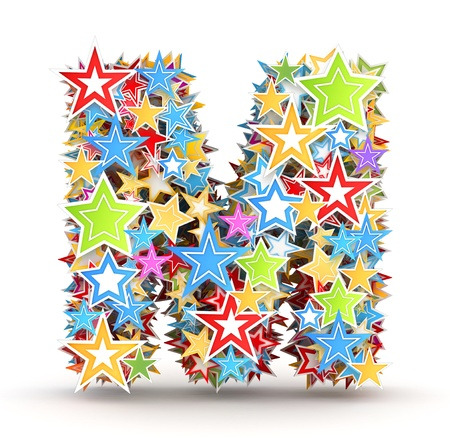 chads: Letter M, from bright colored holiday stars staked