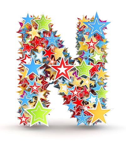 letter n: Letter N, from bright colored holiday stars staked