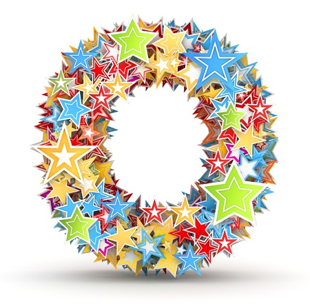 chads: Letter O, from bright colored holiday stars staked Stock Photo