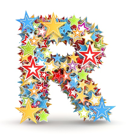 chads: Letter R, from bright colored holiday stars staked Stock Photo