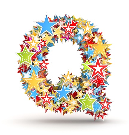 chads: Letter Q, from bright colored holiday stars staked