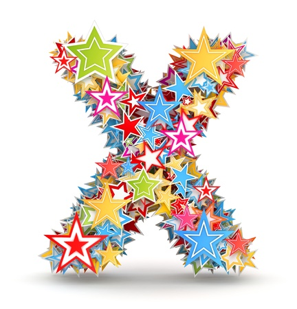 chads: Letter X, from bright colored holiday stars staked Stock Photo