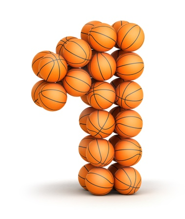 wining: Number 1 from basketball balls isolated on white background Stock Photo