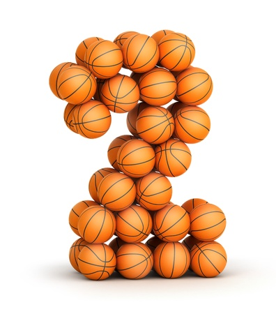 Number 2 from basketball balls isolated on white background Stock Photo - 19089574