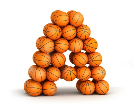 Letter A from basketball balls isolated on white background