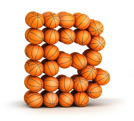 Letter B from basketball balls isolated on white background