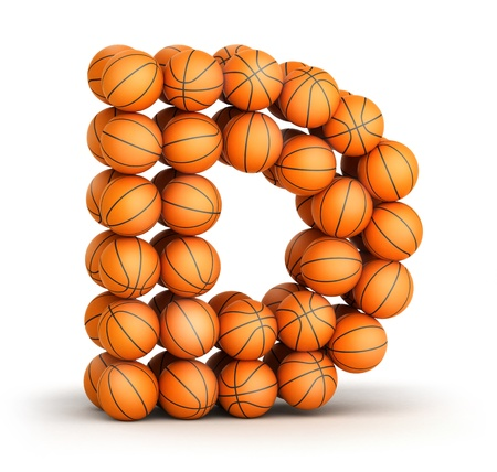 Letter D from basketball balls isolated on white background photo