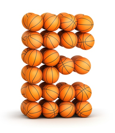 Letter E from basketball balls isolated on white background photo