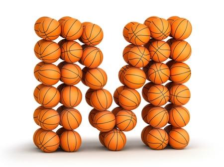letra m: Letra M de las bolas de baloncesto aislados sobre fondo blanco Foto de archivo