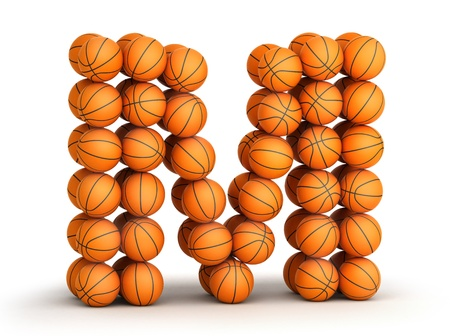 Letter M from basketball balls isolated on white background photo