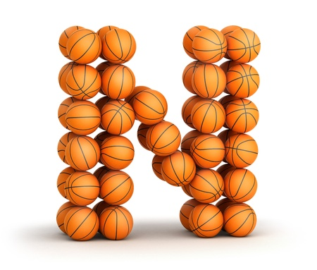 Letter N from basketball balls isolated on white background photo